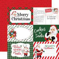 "Dear Santa - Carta Bella - Double-Sided Cardstock 12""X12"" - 4""X6"" Journaling Cards"