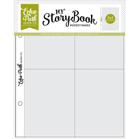 "My Story Book - Echo Park - Album Pocket Pages 6""X8"" 10/Pkg - (4) 3""X4"" Openings"