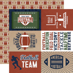 "Football - Echo Park - Double-Sided Cardstock 12""X12"" - 4""X6"" Journaling Cards"