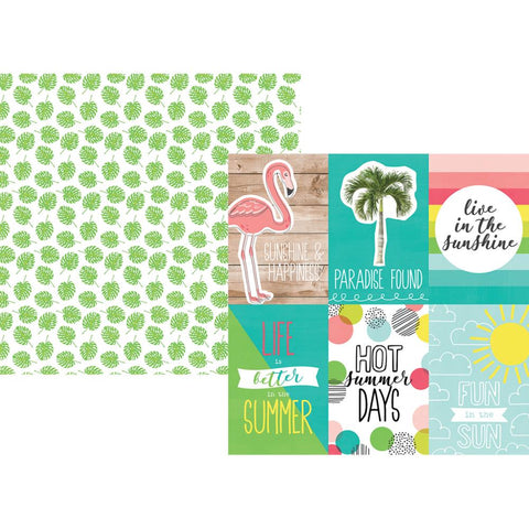 "Hello Summer Double-Sided Cardstock 12""X12"" - 4""X6"" Vertical Elements"