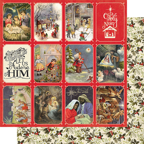 "Christmas Greetings - Authentique - Double-Sided Cardstock 12""X12"" - #4 Nativity Scenes 3""X4"" Cut-Aparts"
