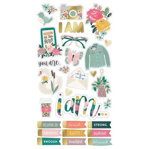"I Am (2020) - Simple Stories - Chipboard Stickers 6""X12"""