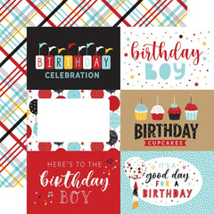 "Magical Birthday BOY - Echo Park - Double-Sided Cardstock 12""X12"" - 6""X4"" Journaling Cards"