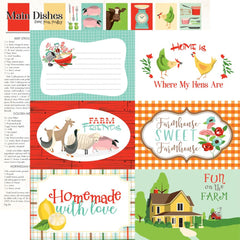 "Farm To Table - Carta Bella - Double-Sided Cardstock 12""X12"" - 6""X4"" Journaling Cards"
