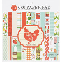 "Farm To Table - Carta Bella - Double-Sided Paper Pad 6""X6"" 24/Pkg"
