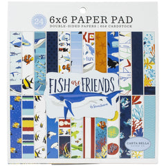 "Fish Are Friends - Carta Bella - Double-Sided Paper Pad 6""X6"" 24/Pkg"