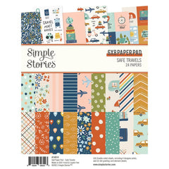 "Safe Travels - Simple Stories - Double-Sided Paper Pad 6""X8"" 24/Pkg"