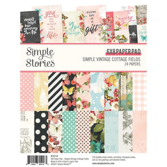 "Simple Vintage Cottage Fields - Simple Stories - Double-Sided Paper Pad 6""X8"" 24/Pkg"