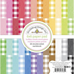 "Doodlebug - Petite Prints - Double-Sided Paper Pad 6""X6"" 24/Pkg -  Buffalo Check-Wood Grain Rainbow"