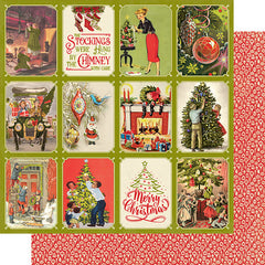 "Christmas Greetings - Authentique - Double-Sided Cardstock 12""X12"" - #6 Deck The Halls 3""X4"" Cut-Aparts"