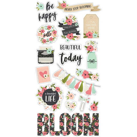 "Bloom Chipboard Stickers 6""X12"""