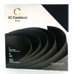 "American Crafts - Textured Cardstock Pack 12""X12"" 60/Pkg - Black"