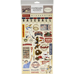 "Baseball - Carta Bella - Chipboard 6""X13"" - Accents"