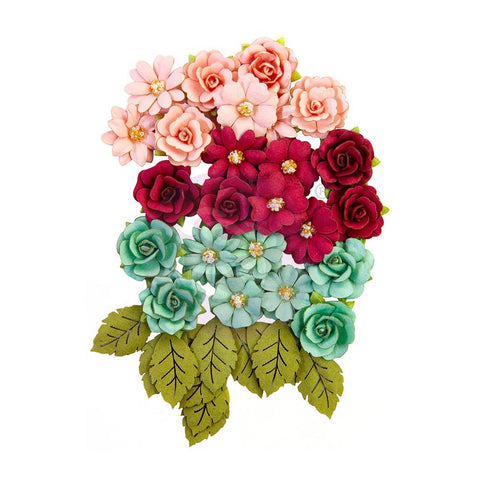 Pretty Mosaic - Prima - Mulberry Paper Flowers - Amazonite