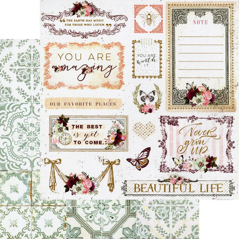 "Pretty Mosaic - Prima - Double-Sided Cardstock 12""X12"" - Beautiful Life"
