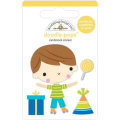Party Time - Doodlebug - Doodle-Pops 3D Stickers - Birthday Boy