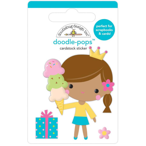Hey Cupcake - Doodlebug - Doodle-Pops 3D Stickers - Birthday Princess
