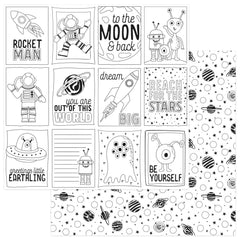 "To The Moon And Back Double-Sided Cardstock 12""X12"" - PhotoPlay Paper - Black & White Color Me Cards"
