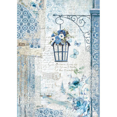 Stamperia Rice Paper Sheet A4 - Blue Land Lamp