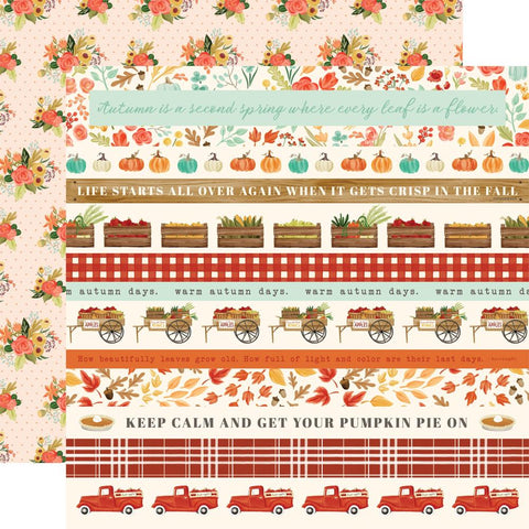 "Fall Market - Carta Bella  - Double-Sided Cardstock 12""X12"" - Border Strips"