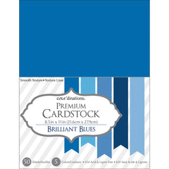 "Darice Value Pack Smooth Cardstock 8.5""X11"" 50/Pkg - Brilliant Blue Assortment"
