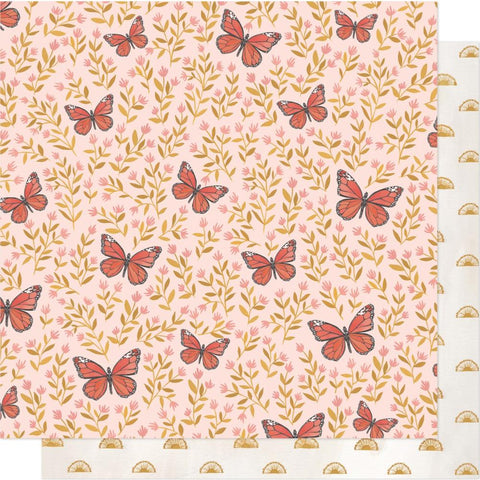"Willow - One Canoe Two - Double-Sided Cardstock 12""X12"" - Butterfly Garden"