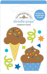 Party Time - Doodlebug - Doodle-Pops 3D Stickers - Cake & Ice Cream