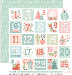 "Merry & Bright - Cocoa Vanilla - 12""X12"" Patterned Paper - Countdown"