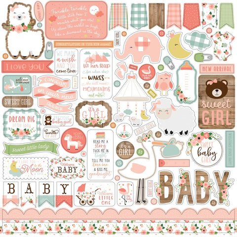 "Baby Girl - Echo Park - Cardstock Stickers 12""X12"" - Elements"