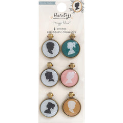 Heritage - Maggie Holmes - Crate Paper - Charm Embellishments 6/Pkg - Epoxy & Metal