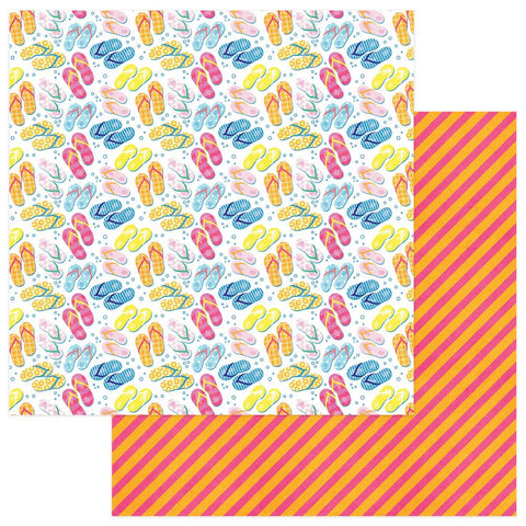 "Those Summer Days - Photo Play -  Double-Sided Cardstock 12""X12"" - Flip Flops"