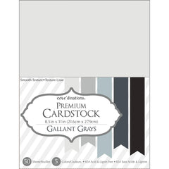 "Darice Value Pack Smooth Cardstock 8.5""X11"" 50/Pkg - Gallant Grays Assortment"