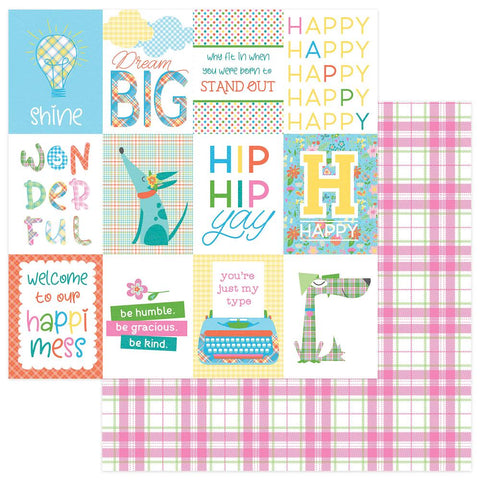 "Mad 4 Plaid Happy Double-Sided Cardstock 12""X12""- Happy Day"