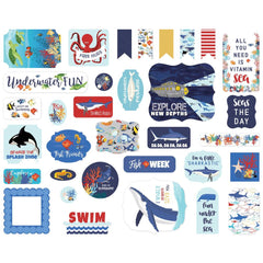 Fish Are Friends - Carta Bella - Cardstock Ephemera 33/Pkg - Icons