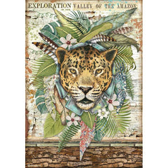 Amazonia - Stamperia - Rice Paper Sheet A4 - Jaguar