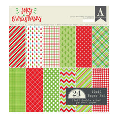 "Jolly Christmas - Authentique Double-Sided Cardstock Pad 12""X12"" 24/Pkg"