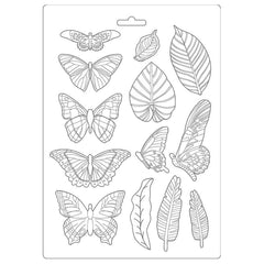 "Amazonia - Stamperia - Soft Maxi Mould 8.5""X11.5"" - Leaves & Butterflies"