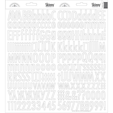Doodlebug Skinny Cardstock Alpha Stickers - Lily White