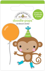 Party Time - Doodlebug - Doodle-Pops 3D Stickers - Monkey Business