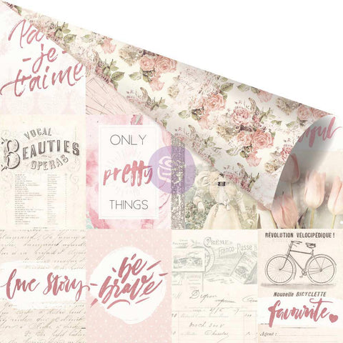 "Love Story Pink Foiled Double-Sided Cardstock 12""X12"" - Notes That Last Forever"