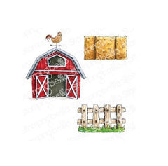 Stamping Bella - Cling Stamps - Oddball Barn, Hay And Fence