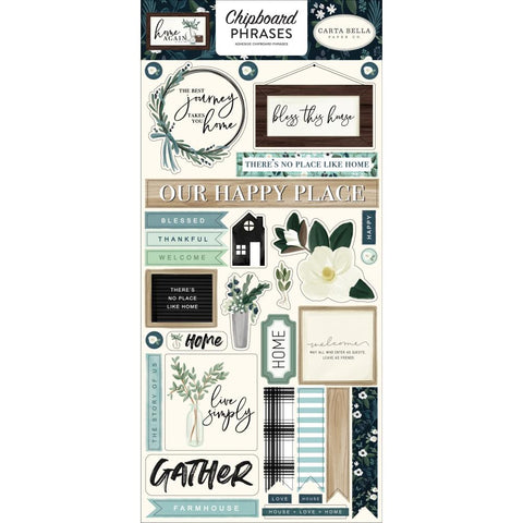 "Home Again - Carta Bella - Chipboard 6""X13"" - Phrases"