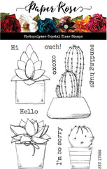 "Paper Rose - Clear Stamp - Cactus Greetings 4""x6"" stamp set"