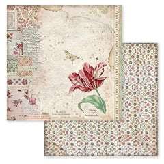 "Spring Botanic - Stamperia Double-Sided Cardstock 12""X12"" - W/Red Tulip (604)"