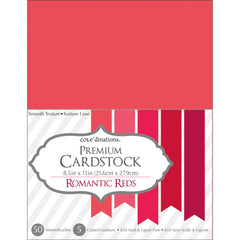 "Darice Value Pack Smooth Cardstock 8.5""X11"" 50/Pkg - Romantic Reds Assortment"