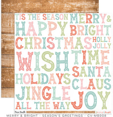 "Merry & Bright - Cocoa Vanilla - 12""X12"" Patterned Paper - Season's Greetings"