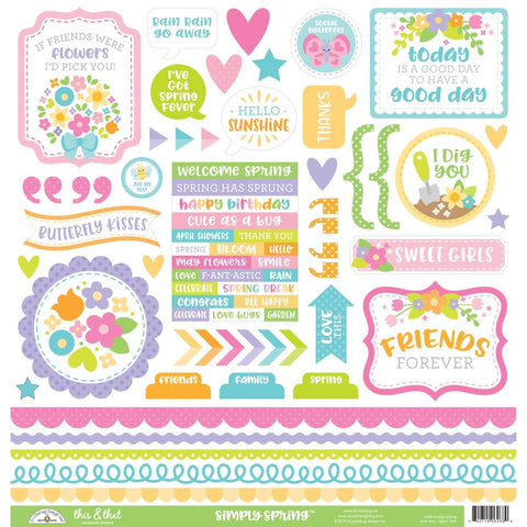 "Simply Spring  - Doodlebug Cardstock Stickers 12""X12"" - This & That"