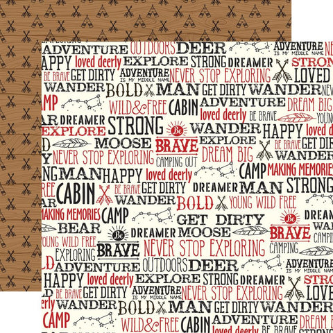 "Little Lumberjack - Echo Park - Double-Sided Cardstock 12""X12"" - Wander Words"