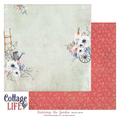 "Cottage Life - 49 & Market - 12""X12"" Patterned Paper - Watering the Garden"