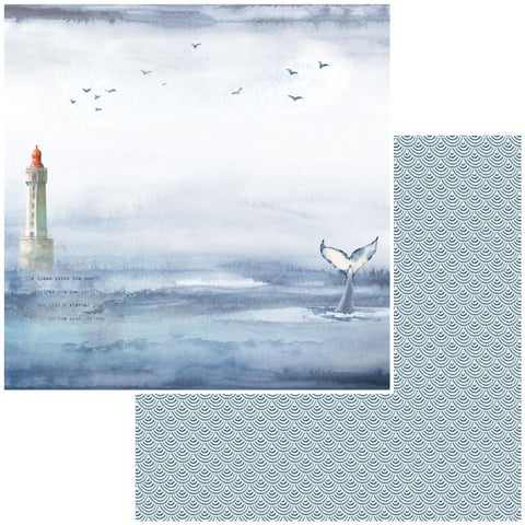 "Seaside - 49 And Market - Double-Sided Cardstock 12""X12"" -  Whales Tales"
